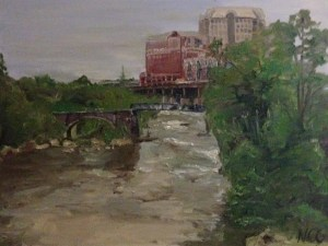 "Original Oil Painting-Scenes of Richmond: ""View of the James from the Bottom"" Oil on Canvas, 18"" x 24"""