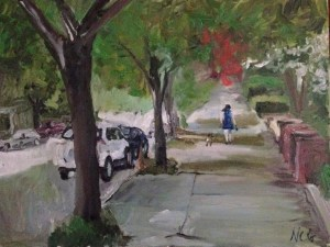 "Original Oil Paintings-Scenes of Richmond: ""Woman Walking a Dog"" Oil on Canvas, 18"" x 24"""