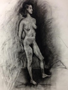 "Original Drawings-People and Portraits: ""Woman with a Long Neck"" Charcoal on Paper, 24"" x 18"""