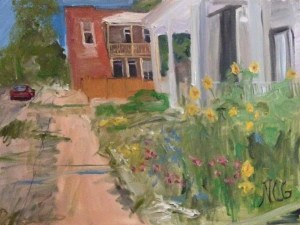 """Original Oil Painting-Scenes of Richmond: """"Yellow Flowers in the Fan"""" Oil on Canvas, 18"""" x 24"""""""