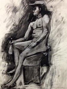 "Original Drawings-People and Portraits:""Cowboy"" Charcoal on Paper, 24"" x 18"""