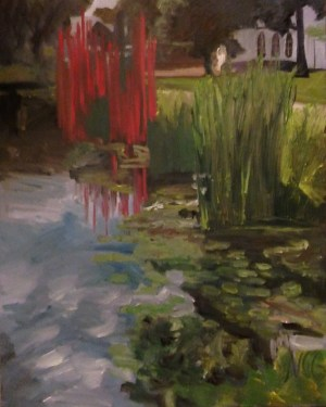 "Original Oil Painting-Scenes of Richmond: ""Chihuly Statue and Water Lilies at the VMFA"" Oil on Canvas, 30"" x 24"""