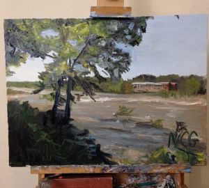 "This shows original oil painting ""Muddy James River at Belle Isle"" on the artists easel"