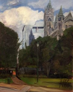 """Original Oil Painting: """"Old City Hall and Reflection"""" Oil on Canvas, 30"""" x 24"""""""