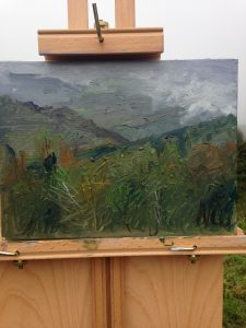 """Plein Air Painting: """"Shenandoah Mountains in Mist"""" Oil on Canvas, 9"""" x 12"""""""
