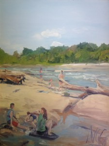 """Original Oil Painting: """"Swimmers on Belle Isle"""" Oil On Canvas, 24"""" x 18"""""""