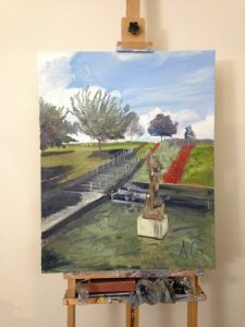 """View of original oil painting """"Little Lady of the Sea at the VMFA"""" on the Artist's Easel"""