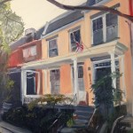 "House Portrait in Oil Painting: ""House on Park Avenue"" Oil on Canvas, 24"" x 18"""