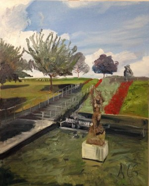 "Original Oil Painting-Scenes of Richmond: ""Little Lady of the Sea at VMFA"" Oil on Canvas, 30""x24"""