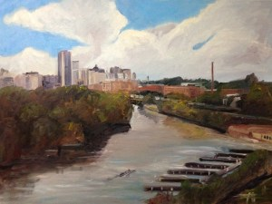 "Original Oil Painting-Scenes of Richmond: ""Richmond on the James"" Oil on Canvas, 30"" x 40"""