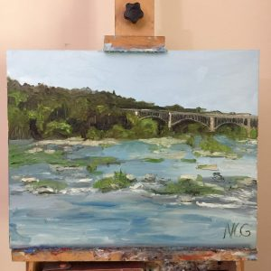 "This is a photo of ""View from the Nickel Bridge"" on the Artist's Easel"