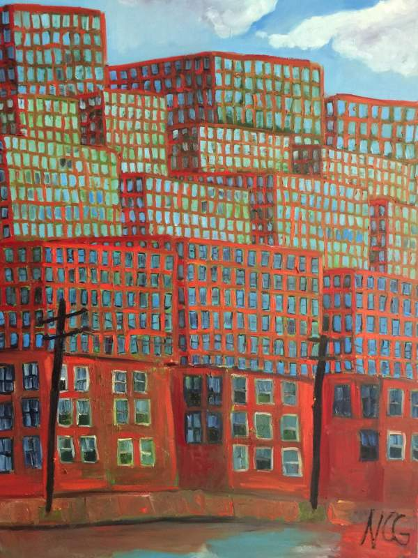 "Original oil painting: ""Cityscape in Orange and Blue"""