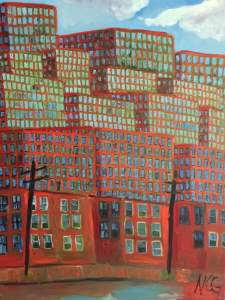 """Original oil painting: """"Cityscape in Orange and Blue"""""""