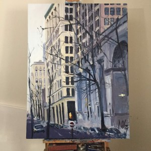 "Original Oil Painting by Natalie Colleen Gates: ""Buildings and Trees, Main Street Richmond, VA"""