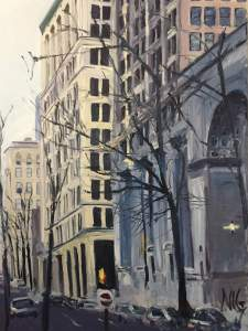 "Original Oil Painting by Natalie Colleen Gates: ""Buildings and Trees, Main Street, Richmond, VA"""