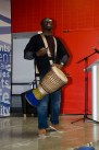 TORONTO, ON – FEBRUARY 26 – Master drummer, Babarinde (Baba) Williams shouts songs while playing his African drum. Happening in the student centre at Humber College, the first 50 students were eligible to play their own drum. This event was part of Black History Month. It was meant to be a commemoration to Madiba.