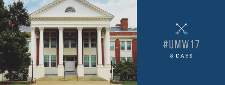 An image of Monroe, the History building at UMW with the school colors depicting hashtag UMW 17 with 8 days below it