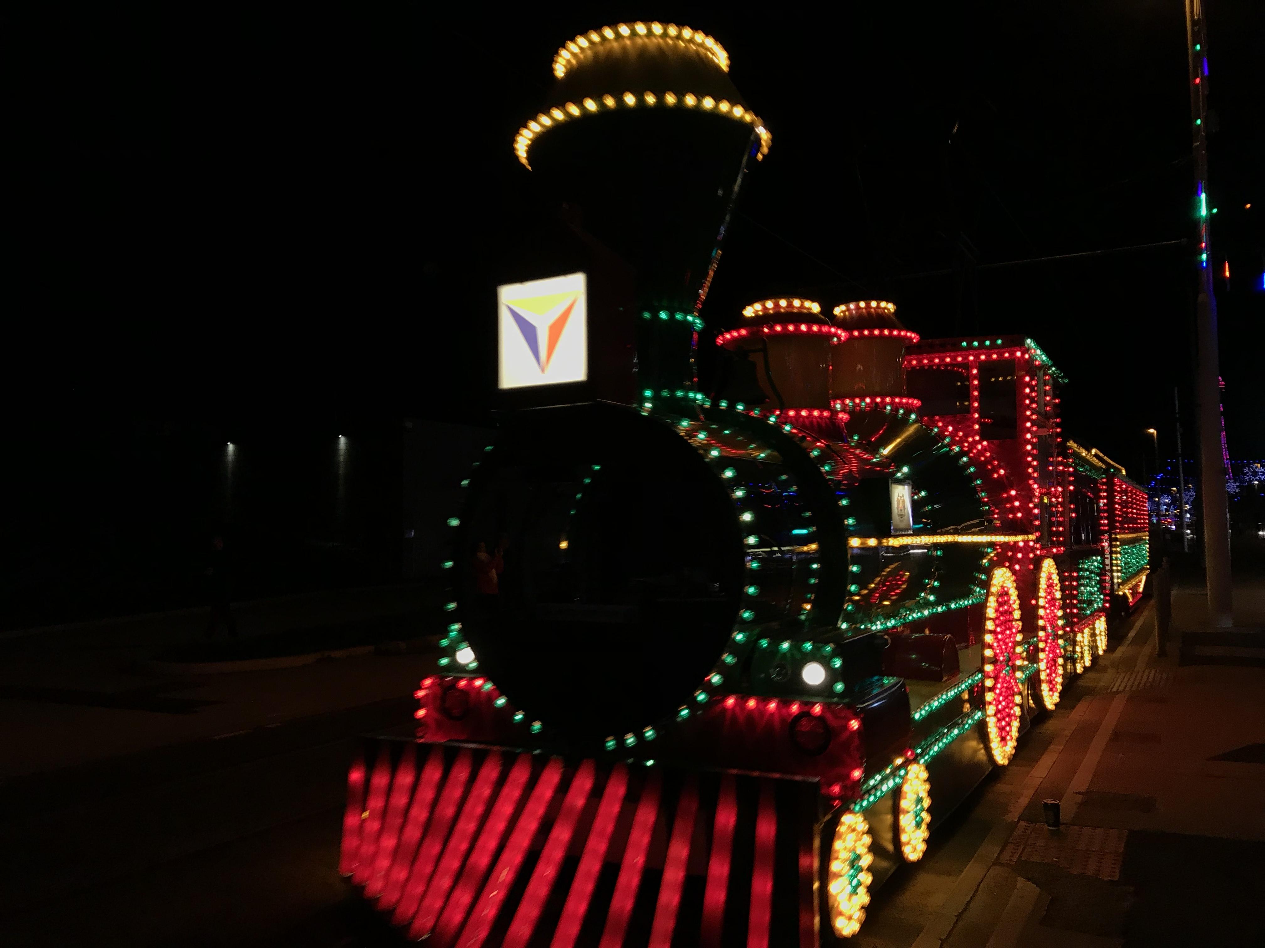 Blackpool tram lit up
