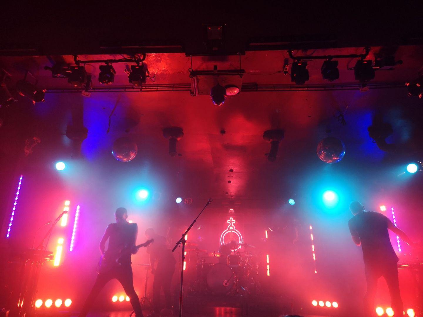 deaf havana on stage with holy symbol behind
