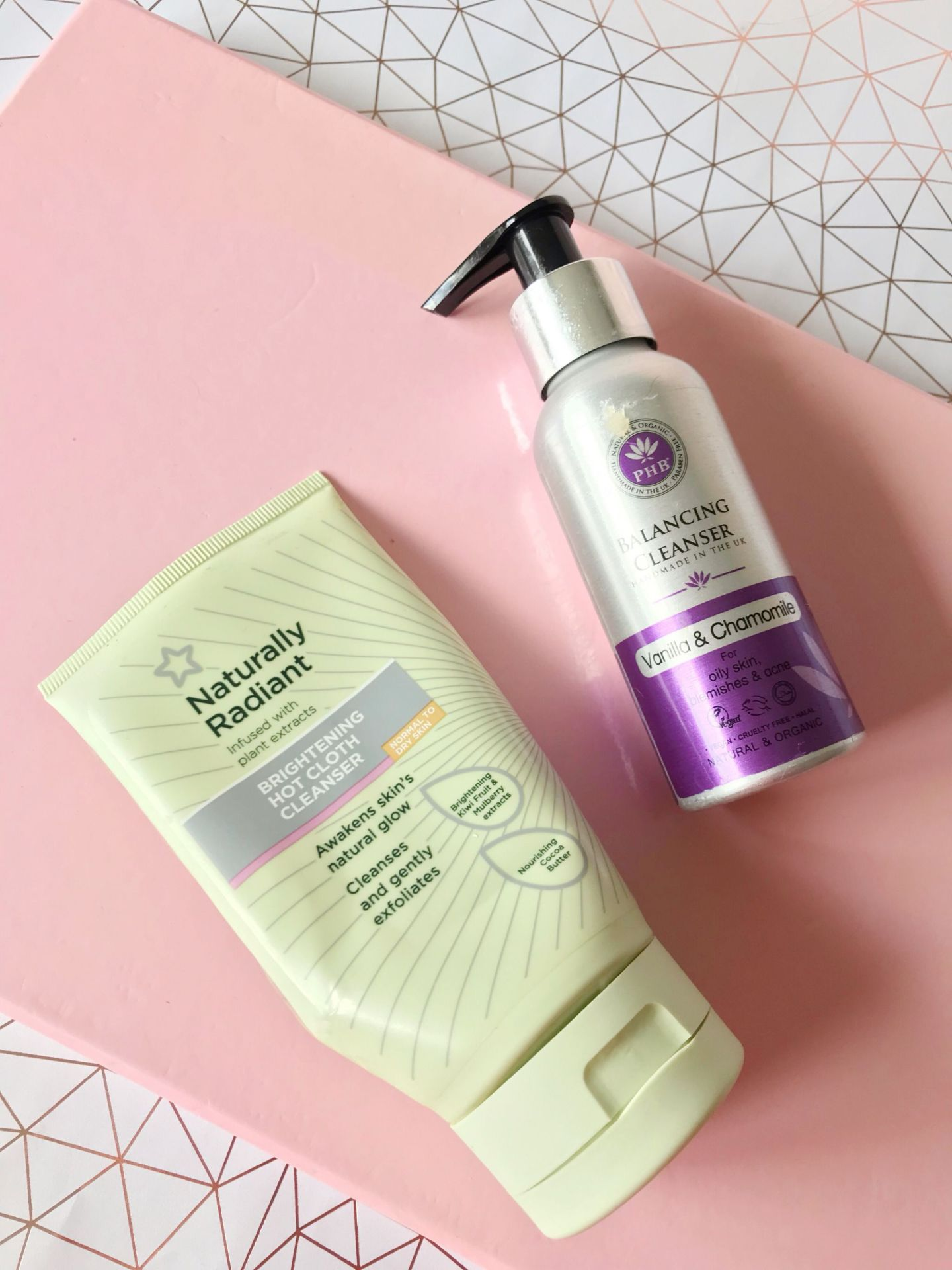 Superdrug Naturally Radiant hot cloth cleanser and PHB balancing cleanser
