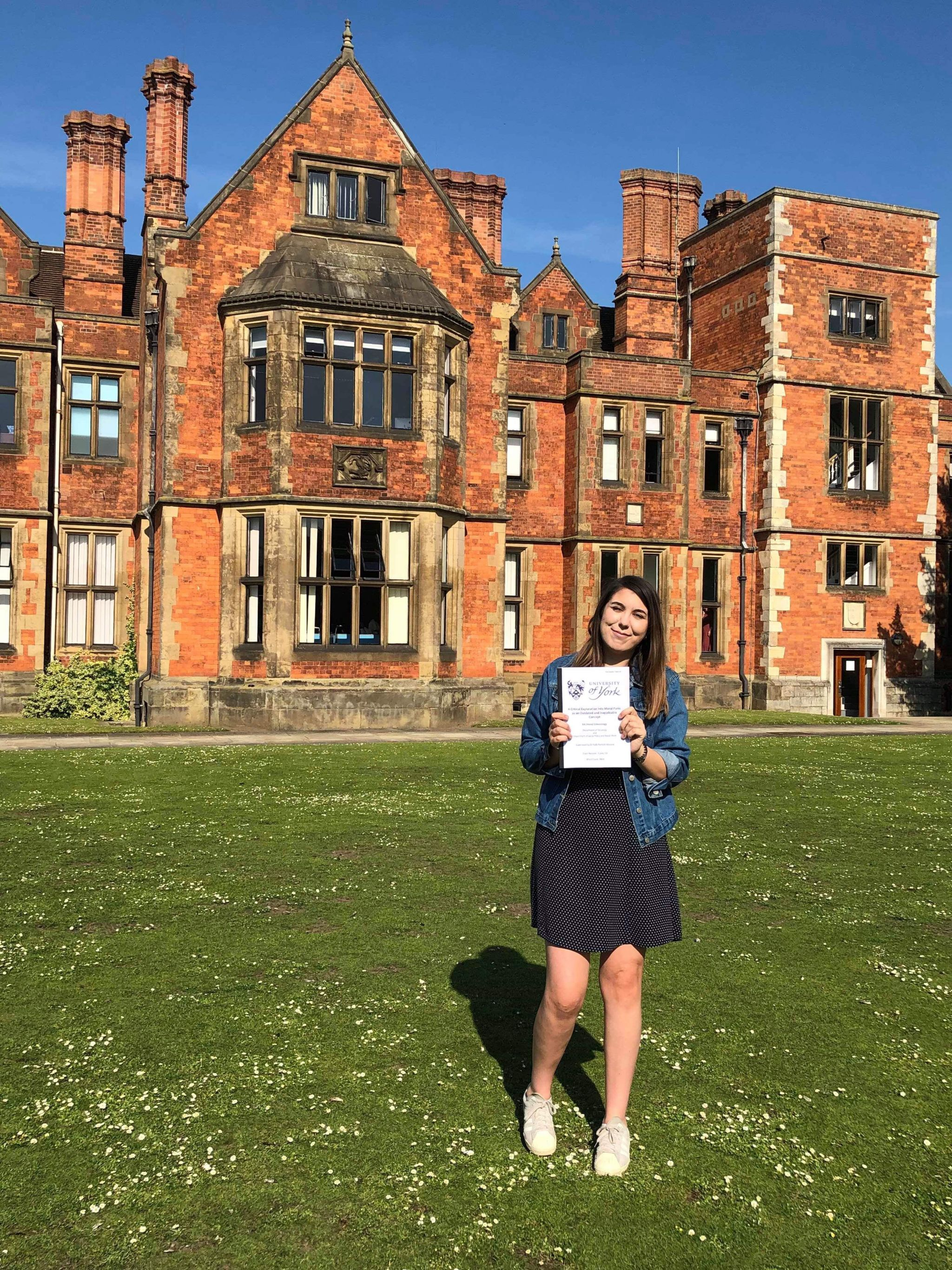 holding my dissertation outside heslington hall
