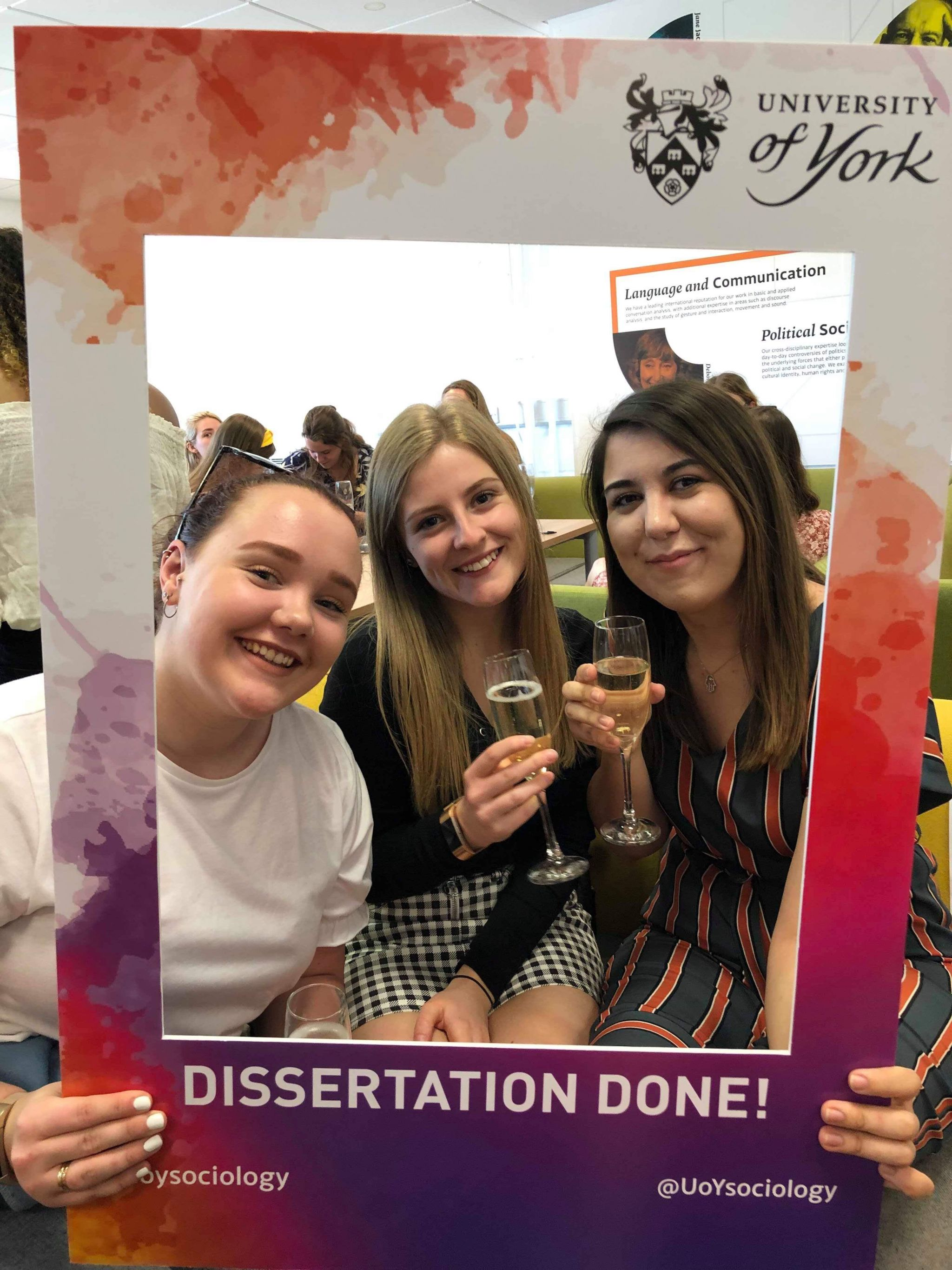 girls and I with dissertation done photo frame prop