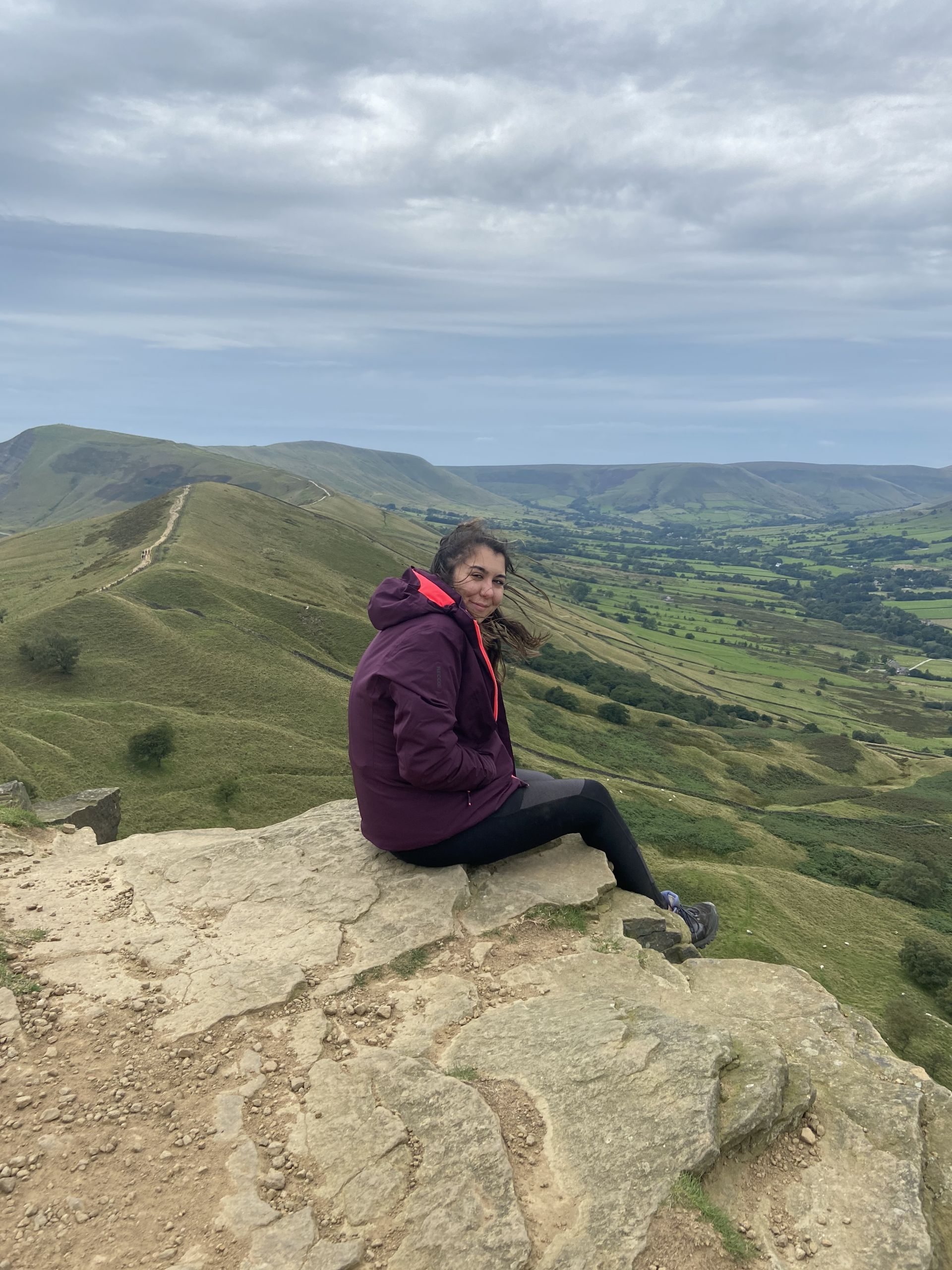 me sat at the top of the ridge of Mam Tor in the Peak District