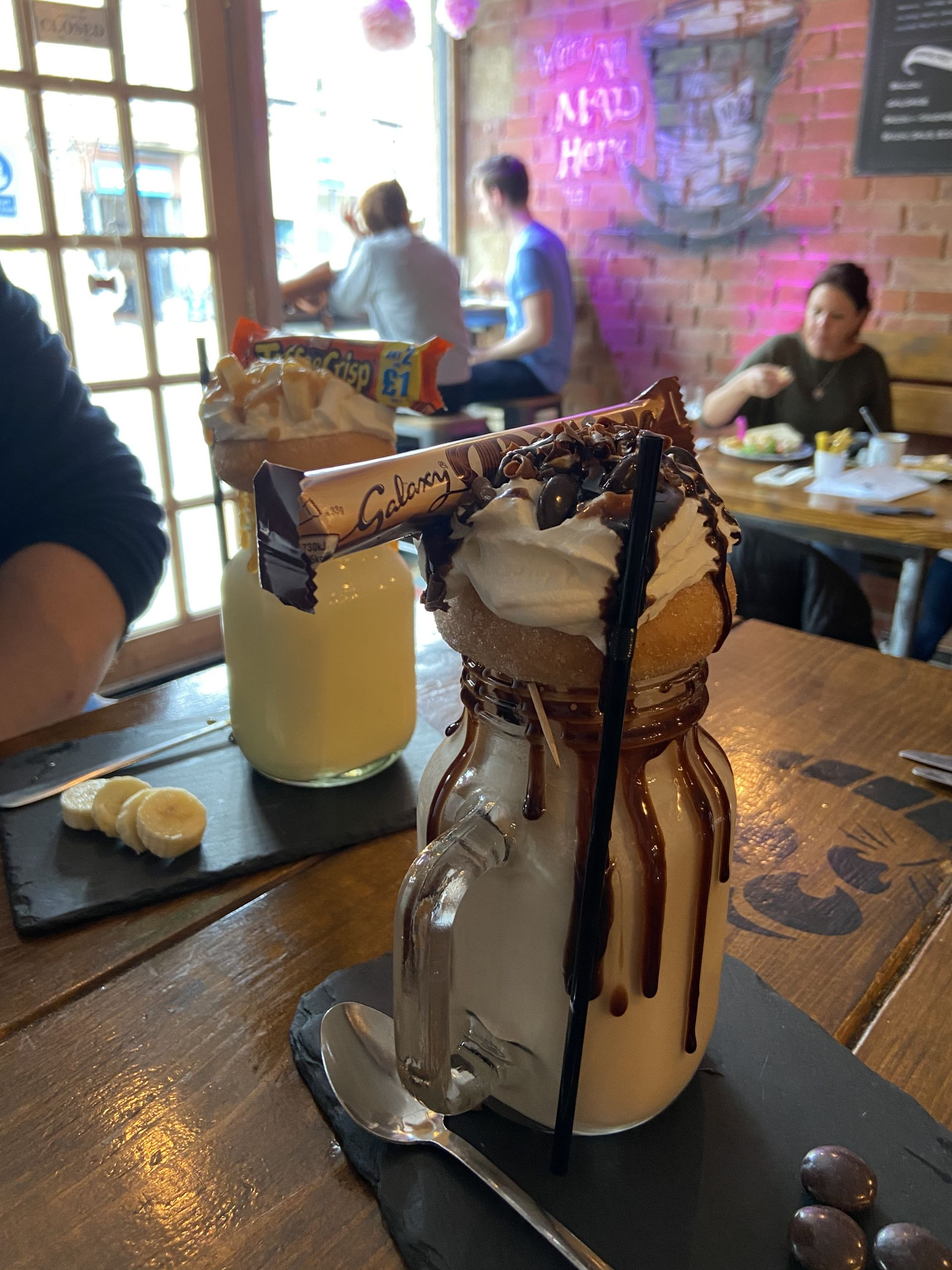 freakshakes at the Mad Hatter's cafe in Matlock