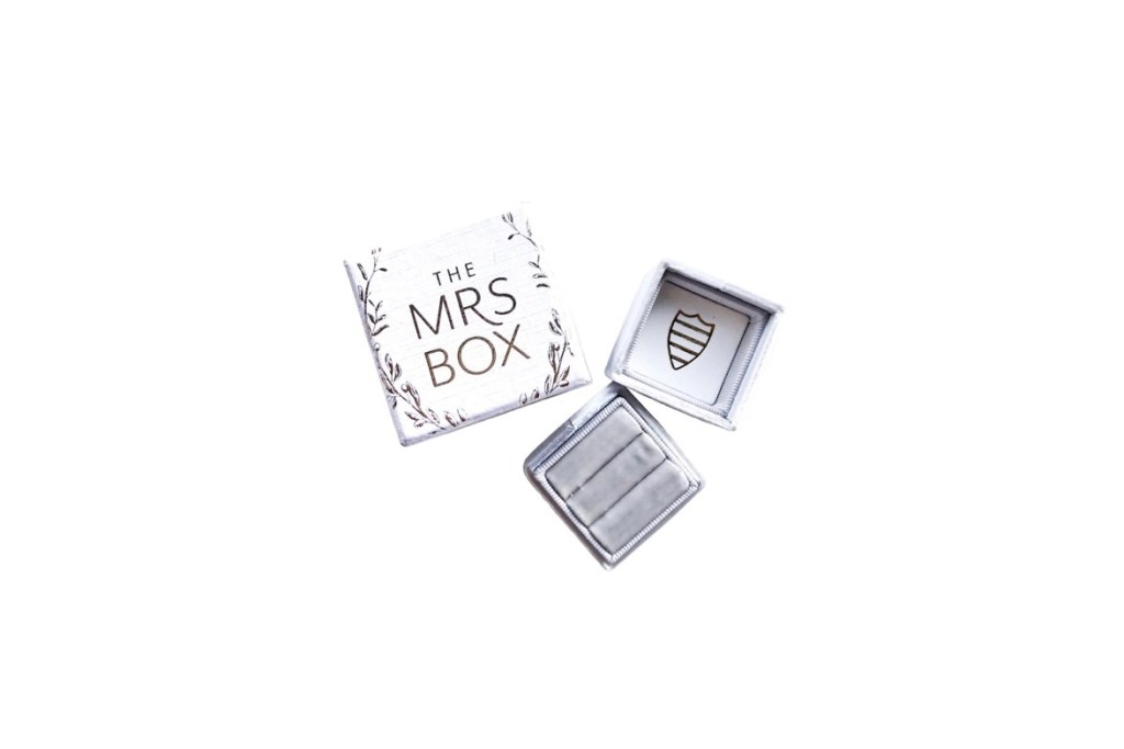 Mrs Box velvet ring storage box - Engagement Gift for wedding flat lay photos