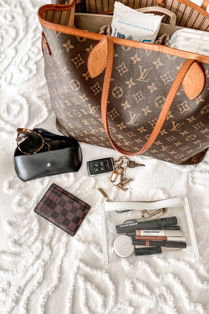 Louis Vuitton Neverfull GM with ToteSavvy diaper bag organizer insert and mom's items, including Jones Road makeup in Truffle pouch