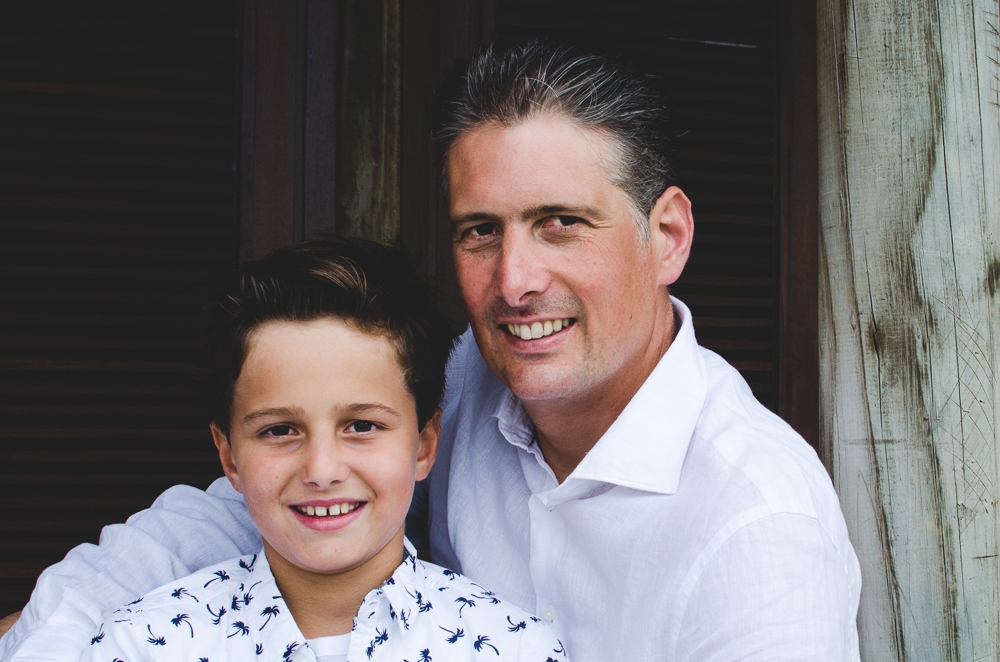 father and son pose for photos in mauritius