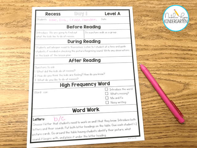 Guided Reading for Level A Readers - Natalie Lynn Kindergarten