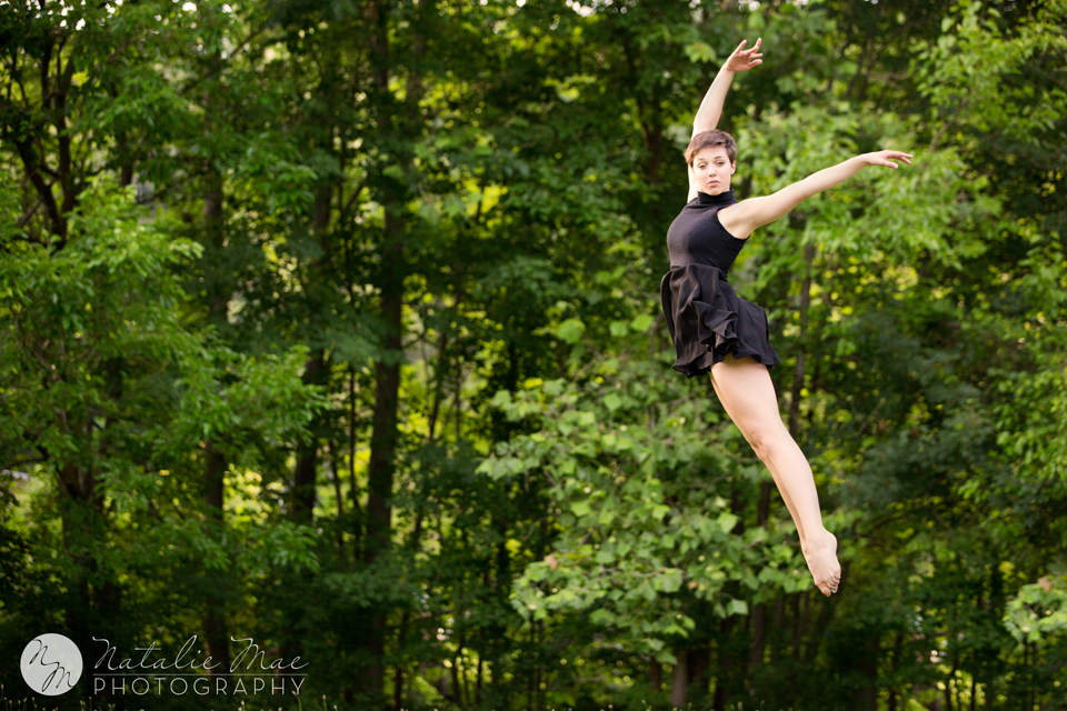 A stunning leap, mid air from EMU dancer Kyla.