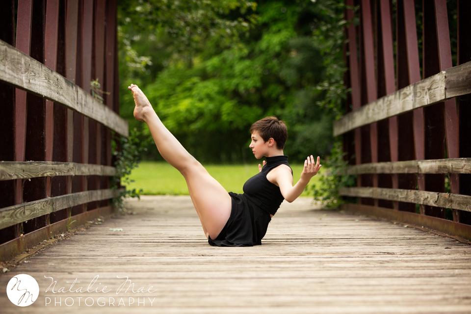 Talented dancer balances while Ann Arbor photographer Natalie Mae captures the image.
