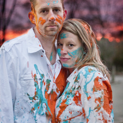 Paint fight engagement photo - Michigan Area Wedding Photographer