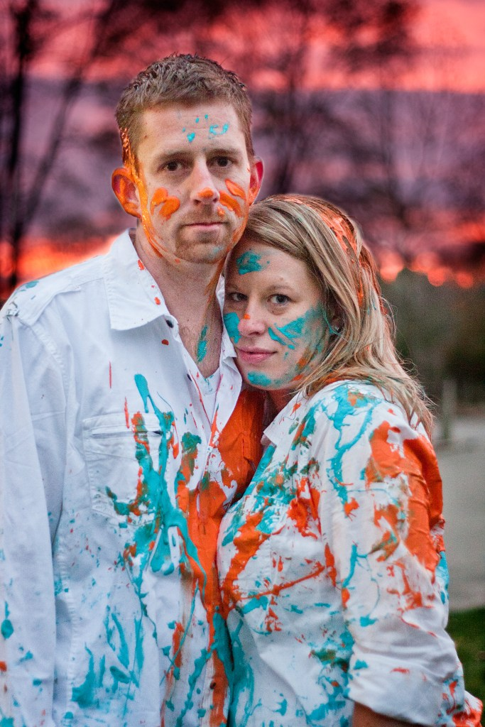 Paint fight engagement photo