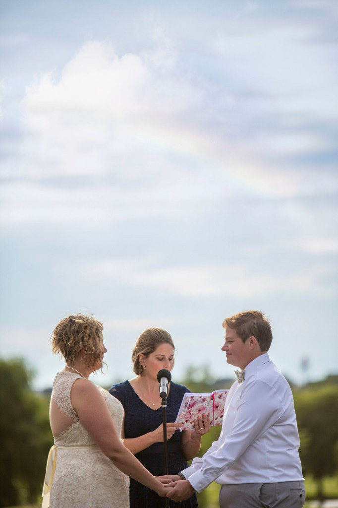 Rainbow over Michigan LGBTQ wedding in Novi