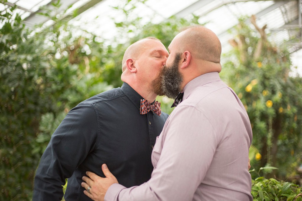 LGBTQ wedding first kiss