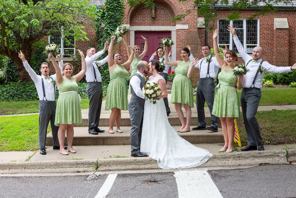 Excited wedding party for Corey and Rachel