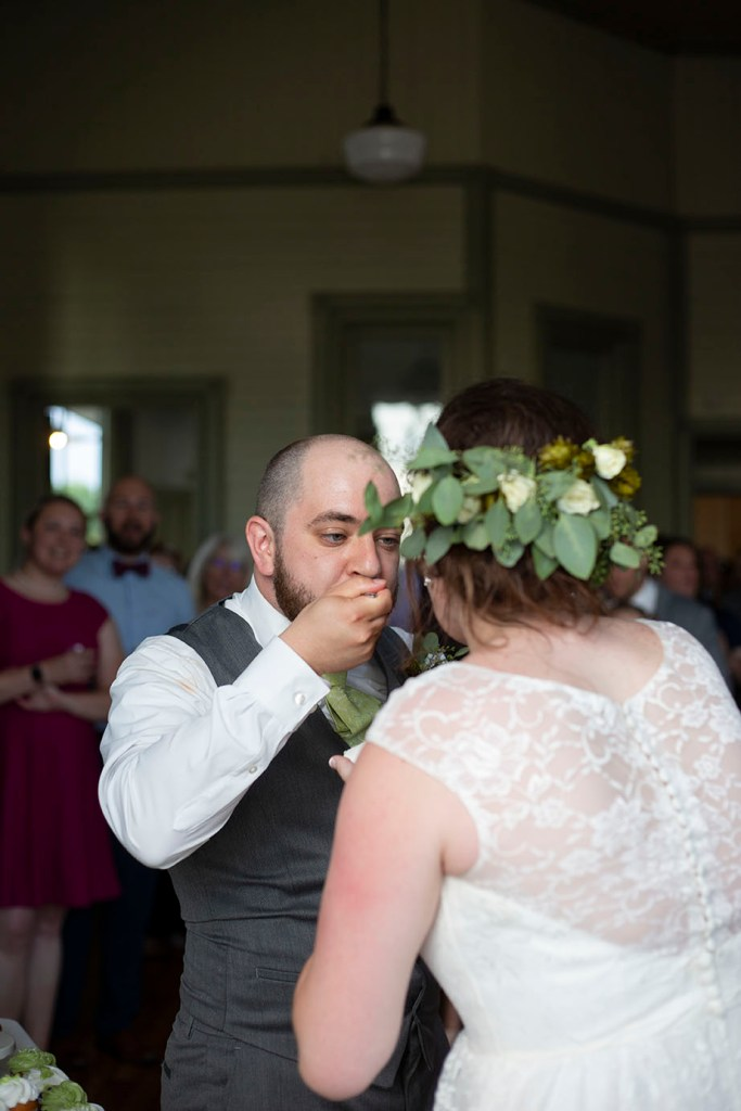 Cake cutting at Michigan wedding