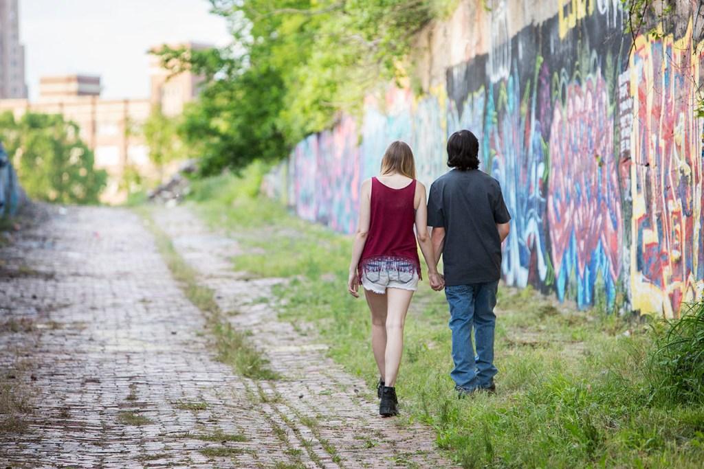 Couple walks up ramp in Detroit