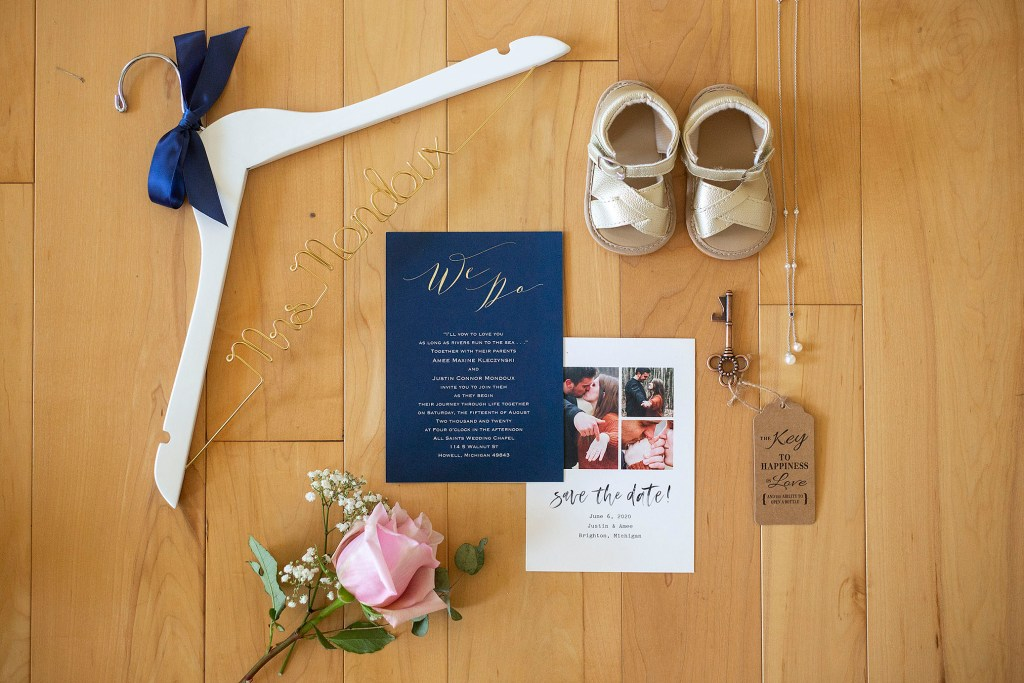 Navy invitations and details for Amee and Justin's Howell wedding