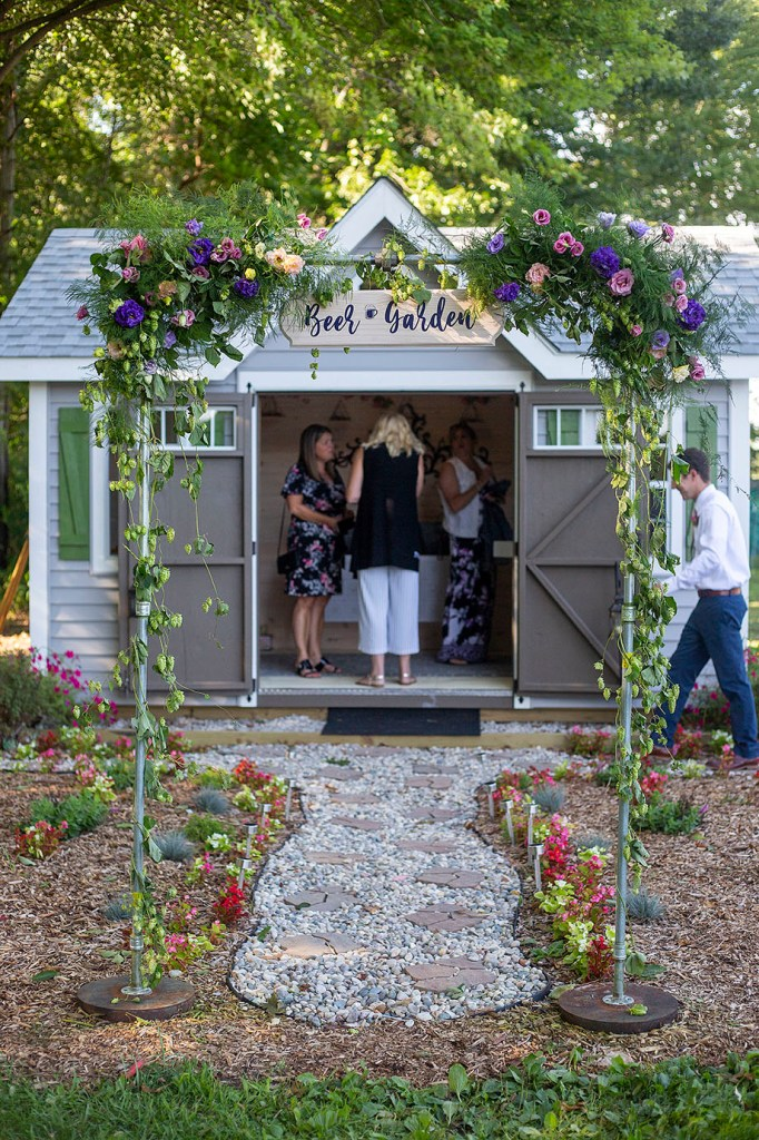 Their flower shed turned into a beer garden for the evening