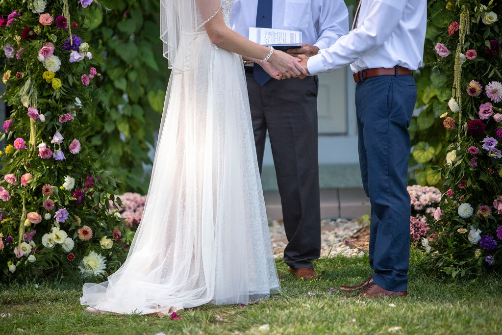 Couple at their Belleville wedding