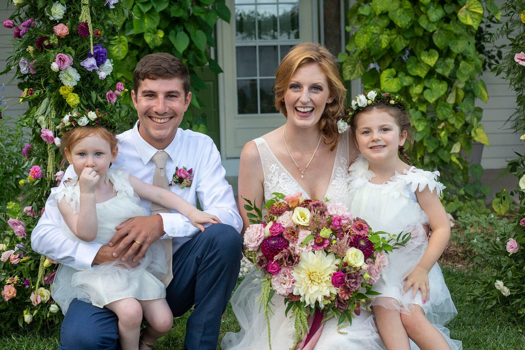 Carmen and Chris with their flower girls