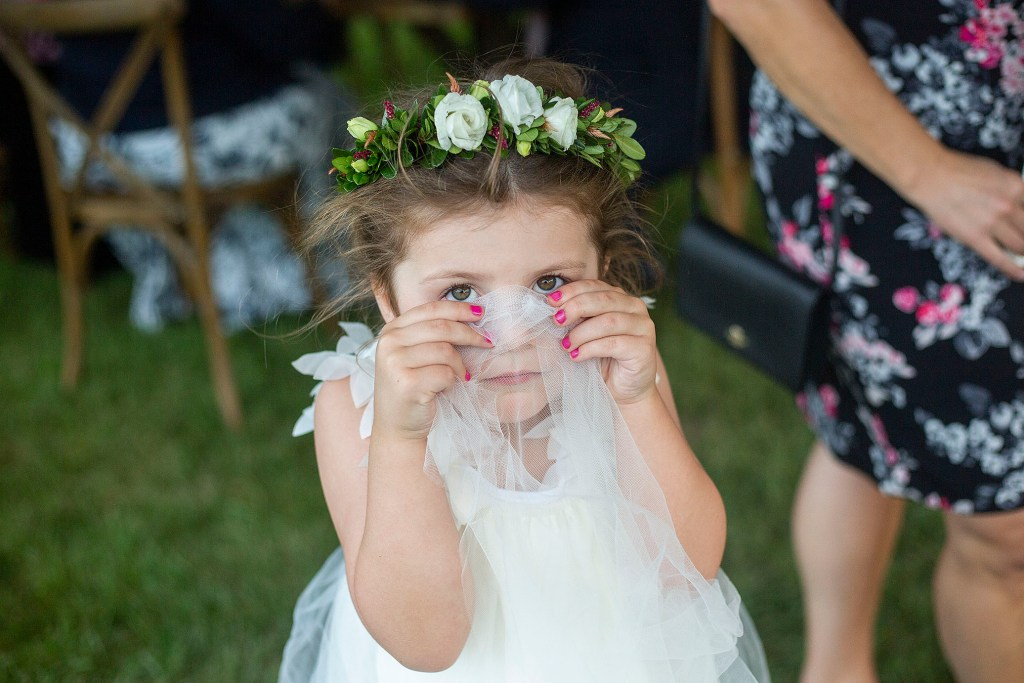 Flower girl being silly