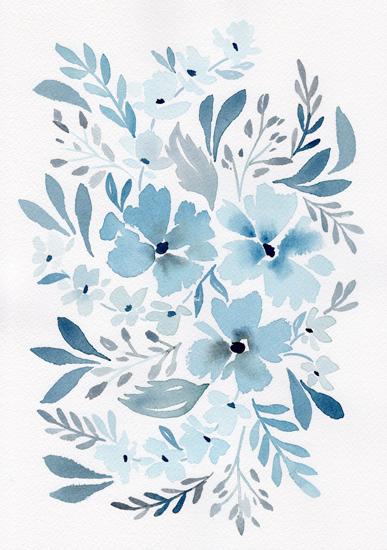 watercolor floral wall print