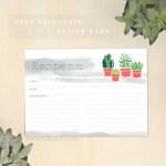 free recipe card templates