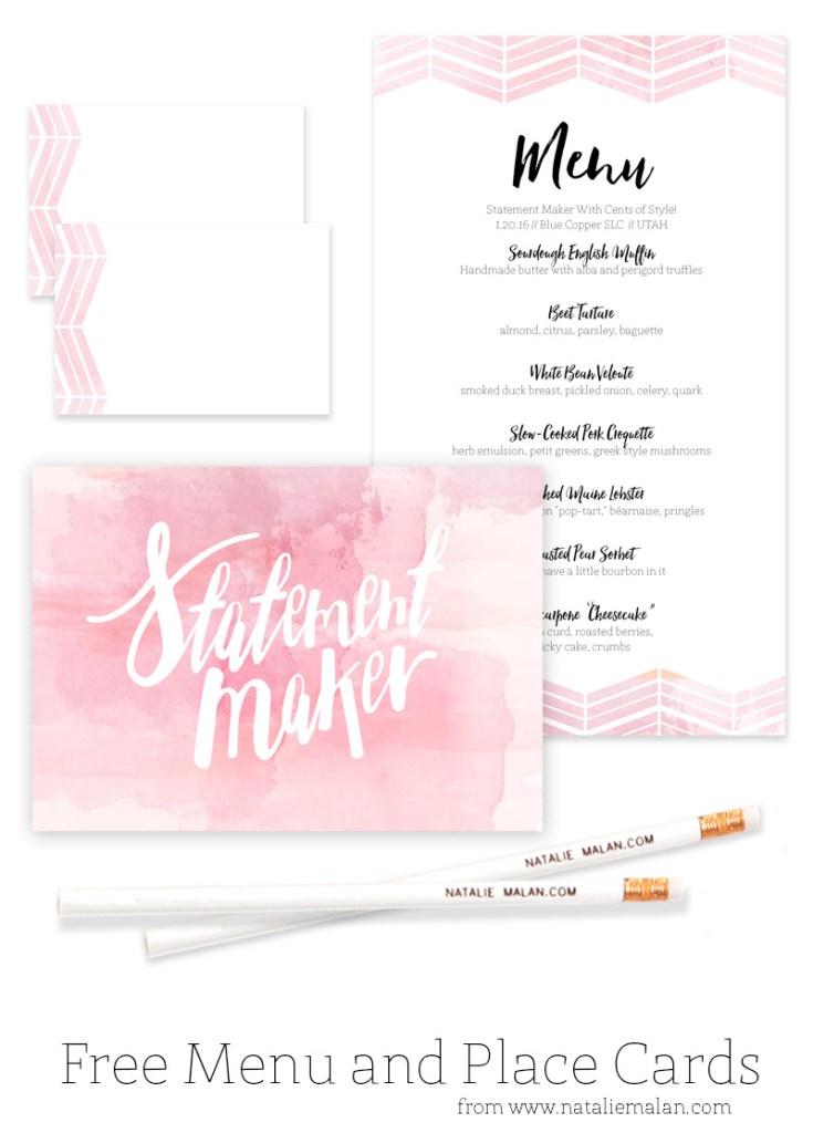 free printable menu place cards