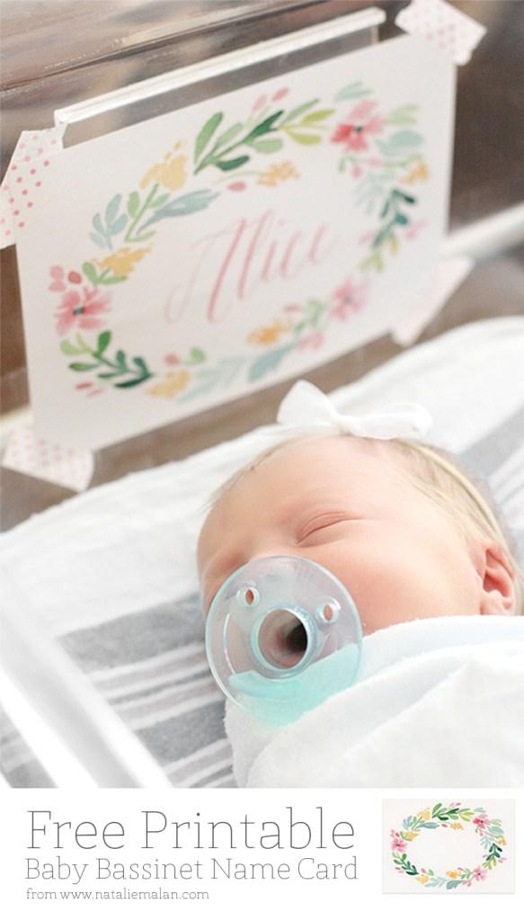 baby bassinet name card free printable